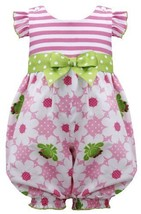Pink Green Stripe Knit to Frog Floral Print Romper PK1HB, Pink, Bonnie Jean B...