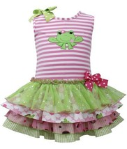 Pink Green Frog Applique Stripe Knit Mix Print Tier Dress PK2HA, Pink, Bonnie...