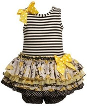 Size-12M, Black, BNJ-8036R, 2-Piece Striped Knit to Multi Tiered Mix-Print Dr...