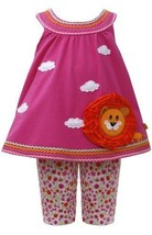 Fuchsia-Pink Lion Applique Knit Trapeze Dress/Legging Set FU0SA, Fuchsia, Bon...