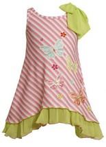 Size-2T, Pink, BNJ-2423M, Pink Bias Stripe Sequin Butterfly Bow Shoulder Knit...