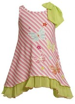 Size-4, Pink, BNJ-2423M, Pink Bias Stripe Sequin Butterfly Bow Shoulder Knit ...