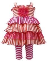 Orange Pink Stripe Knit Tier Dress/Legging Set OR1HB, Orange, Bonnie Jean Bab...