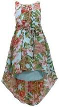 Aqua-Blue Braided Belt High Low Hem Floral Chiffon Dress AQ3NA, Aqua, Bonnie ...