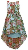 Aqua-Blue Braided Belt High Low Hem Floral Chiffon Dress AQ3SA, Aqua, Bonnie ...