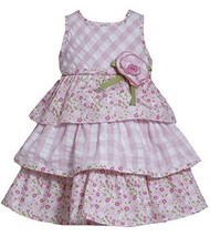 Pink White Check Floral Mix Print Tier Seersucker Dress PK2BU, Pink, Bonnie J...