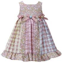 Brown Pink Triple Bow Colorblock Mix Print Seersucker Dress BR2BU, Brown, Bon...