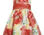 Orange Yellow Bright Floral Print Shantung Dress OR3SA, Orange, Bonnie Jean L...
