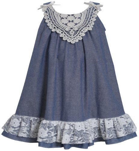 Blue White Bow Shoulder Lace Chambray Trapeze Dress BL2BU, Blue, Bonnie Jean ...