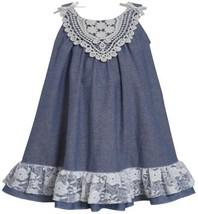 Blue White Bow Shoulder Lace Chambray Trapeze Dress BL2BU, Blue, Bonnie Jean ...
