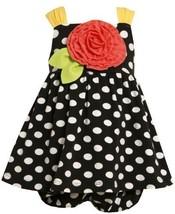 Bonnie Jean Girls 0-9 Months Black Polka Dot Knit Rosette Applique Dress (6/9...