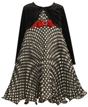 Size-5 BNJ-2956X 2-Piece Black and White Pleated Dot Print Chiffon Dress with...