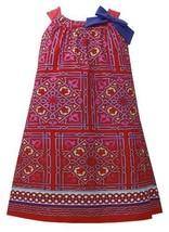 Red Blue Bow Shoulder Geometric Border Print Trapeze Dress RD3SP, Red, Bonnie...