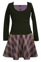 Black/Purple/Yellow Diamond Plaid Twofer Drop Waist Knit Dress