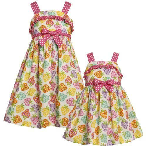 Size-5 BNJ-3316M MULTICOLOR PINK WHITE POLKA DOT TRIM 'Heart-Berry' PRINT Spr...