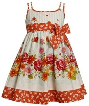 Aqua-Blue Orange Floral and Stripes Doubel Strap Dress AQ2TW,Bonnie Jean Todd...