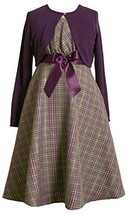 Bonnie Jean Girls 4-6X 2-Piece Metallic Plaid Bow Front Dress / Jacket Set (5...
