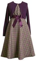 Bonnie Jean Girls 4-6X 2-Piece Metallic Plaid Bow Front Dress / Jacket Set (4...