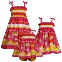 Size-4T BNJ-3374M FUCHSIA-PINK YELLOW STRIPE and FLORAL BORDER PRINT SMOCKED ...