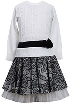 Bonnie Jean Girls' Cable Knit Dress with Lace Skirt SABW3, Black/White [Apparel]