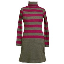 Size-5 BNJ-3697B GRAY FUCHSIA STRIPE RIB KNIT BUTTON TAB DROP WAIST Girl Part...