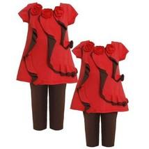 Size-4T BNJ-3862B 2-Piece RED BROWN RUFFLE FRONT TRIPLE ROSETTE KNIT Dress/Le...