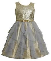 Gold Sequin and Glitter Vertical Cascade Mesh Lame Dress GD3SA Bonnie Jean Li...