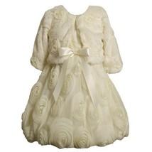 Faux Fur Bonaz Rosette Bubble Dress/Jacket Set IV3SA, Bonnie Jean Girls 2T-6X...