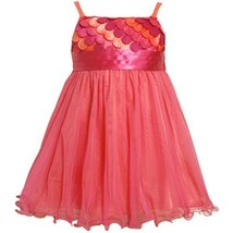 Size-2T BNJ-4336B FUCHSIA-PINK SCALLOP DIE CUT MESH OVERLAY Special Occasion ...