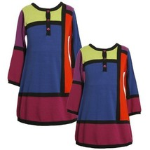 Size-6X BNJ-4330B PURPLE Multi Bold Colorblock Knit Sweater Dress,B64330 Bonn...