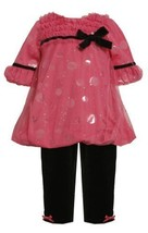 Size-4T BNJ-4596X 2-Piece Fuchsia-Pink Foil Dot Mesh Overlay Bubble Legging S...