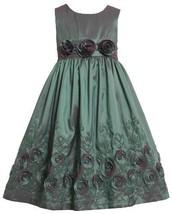 Bonnie Jean Girls 2T-6x Flower Border Sleeveless Taffeta Dress (3T, Teal)