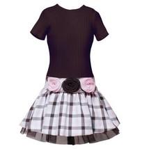 Size 16 Rre 48681 F Brown Pink Ribbed Knit Rosette Waistline Drop Waist Plaid ... - $38.56