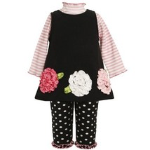 Size-6/9M BNJ-6660B 3-Piece BLACK PINK WHITE STRIPE KNIT BONAZ FLOWER BORDER ... image 1