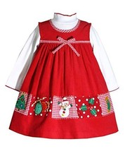 Red Holiday Patchwork Border Light Weight Corduroy Jumper Dress (18M, Red) - $32.57