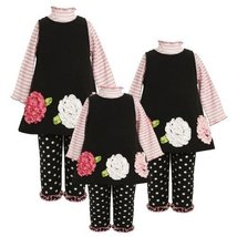 Size-6/9M BNJ-6660B 3-Piece BLACK PINK WHITE STRIPE KNIT BONAZ FLOWER BORDER ... image 2