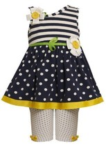 Size-18M, Navy, BNJ-6986R, 2-Piece Dots and Stripes Button-Flower Applique As... - $30.49