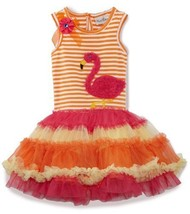 Rare Editions Girls 2-6X Flower And Applique Details Tutu Dress, Orange/Fuchs... - $38.12