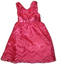 Rare Editions Fuchsia Burnout Chevron Stripe Bow Shoulder Dress, Fuchsia, 6 - $48.91