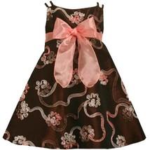 Bonnie Jean Girls 2T-6X Brown Coral Soutache Ribbon Taffeta Social Dress (4T)