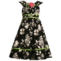 Size-5,BNJ-7252R BLACK WHITE GREEN JACQUARD FLORAL PRINT Special Occasion Wed...