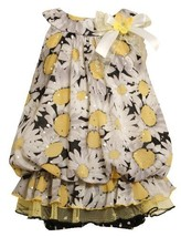 Size-18M, Yellow, BNJ-8602R 2-Piece Sleeveless Daisy Print Foil Dot Mesh Bubb...