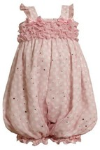 Size-3/6M, Pink, BNJ-8642R, Pink and White Dots and Ruffles Chiffon Romper,Bo... - $30.29