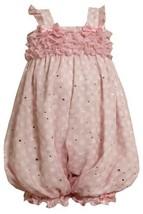 Size-18M, Pink, BNJ-8642R, Pink and White Dots and Ruffles Chiffon Romper,Bon... - $30.29