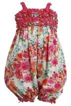 Size-6/9M, Fuchsia, BNJ-8704R, Fuchsia-Pink Glittered Floral Print Romper/Cov... - $29.60