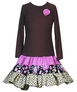 Size-6X, Brown, Brown Knit to Tiered Mix Print Drop Waist Dress, Rare Edition... - $37.42