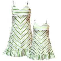 Rare Editions Girls 2T-6X GREEN WHITE STRIPED BEADED STRAPS Spring Summer Par...