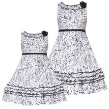 Rare Editions Girls 2 T 6 X White Black Ruffle Trim Floral Print Pleated Skirt ... - $40.54