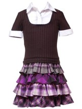 Size-5, Brown, Brown Four Tier Short Sleeve Rib Knit Dress, Rare Editions Gir... - $37.42