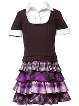 Rare Editions Girl's 4-16 Four Tier Short Sleeve Sweater Dress (6, Brown) - $35.84